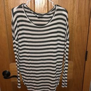 grey and white stripped shirt